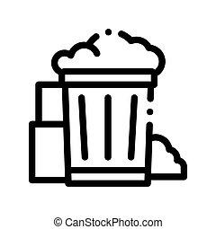 récipient, vecteur, mince, déchets, ligne, déchets ménagers, icône