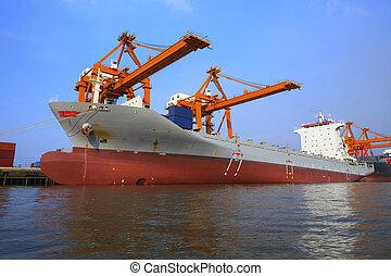 récipient, yard, usage, chargement, flotter, commercial, bateau