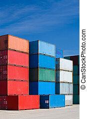 récipients cargaison, à, terminal