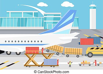 récipients, cargaison, chargement, fret, avion