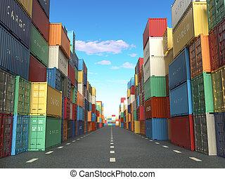 récipients cargaison, dans, expédition, yard., livraison, expédition, logistique, importation, exportation, industriel, concept.