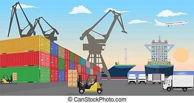 récipients, cargaison, fret, dock., vecteur, voitures, mer, cars., empilé, plat, port, détaillé, illustration., bateaux, élevé, élévateur