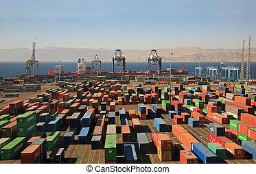 récipients, dans, a, cargaison, port