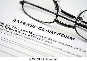 réclamation, dépense, formulaire