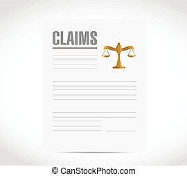 réclamation, document, contrat, illustration