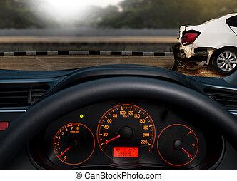 réclamation, endommagé, accident, assurance voiture, route