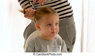 récolte, cheveux, matin, mère, fille