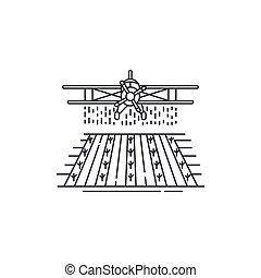 récolte, conception, logo, agriculture, gabarit, arrière-plan., isolé, champ, au-dessus, blanc, linéaire, ferme, affaires illustration, avion, object., ligne, icône, contour, chiffon, élément, vecteur, icon.