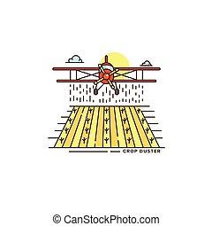 récolte, conception, logo, agriculture, gabarit, arrière-plan., isolé, champ, au-dessus, blanc, plat, linéaire, coloré, ferme, objet, affaires illustration, avion, ligne, icône, chiffon, élément, vecteur, icon.