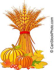 récolte, thanksgiving, fond, /