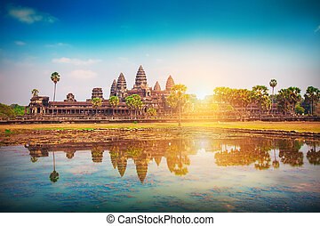 récolter, cambodge, siem, temple, wat, angkor
