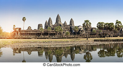 récolter, cambodia., siem, temple, wat, angkor