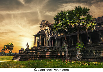 récolter, came, thom, siem, complexe, wat, temple, angkor, sunset.