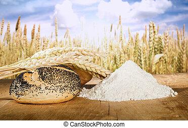 récoltes, blé, céréale, pain