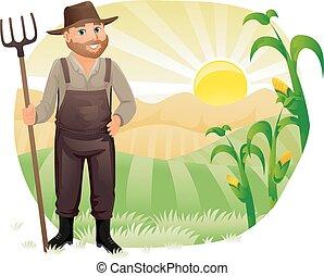 récoltes, maïs, homme, paysan