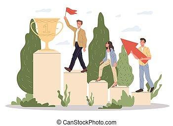 récompense, équipe, réussi, enjôleur