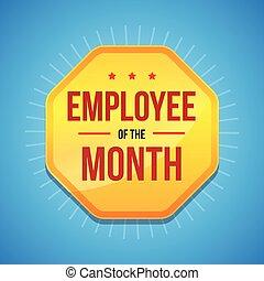 récompense, employé, écusson, mois
