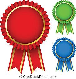 récompense, ruban, rosettes