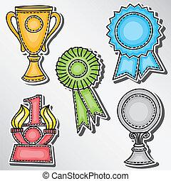 récompenses, autocollants, ensemble, -, trophées