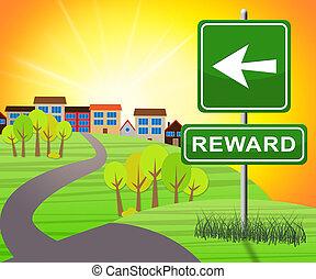 récompenses, avantages, 3d, illustration, signe, récompense, spectacles
