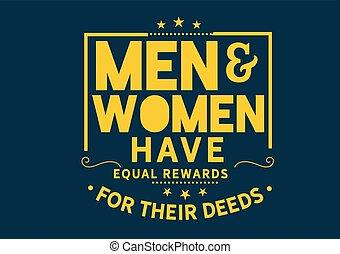 récompenses, femmes, avoir, hommes, égal