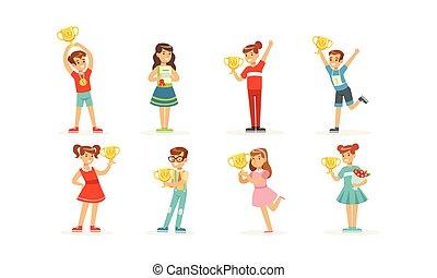récompenses, illustration, enfants, debout, vecteur, tenue