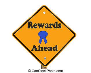 récompenses, isolé, devant, signe