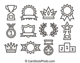 récompenses, ligne, icônes