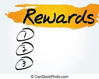 récompenses, liste, vide