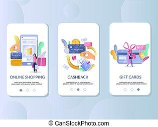 récompenses, mobile, app, écrans, onboarding, vecteur, gabarit, vente au détail