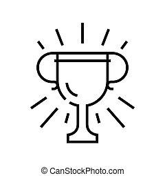 récompenses, symbole., vecteur, concept, linéaire, icône, illustration, signe, ligne, contour
