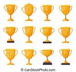 récompenses, trophées, vecteur, trophée, accomplissement, illustrations, gagnant, cups., doré, victoire, or, isolé, champion, gobelets, récompense