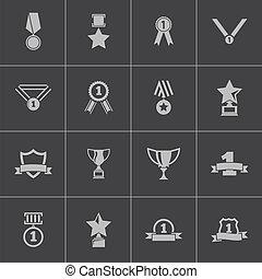 récompenses, vecteur, noir, trophée, ensemble, icônes