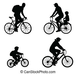 récréatif, silhouette, cyclistes