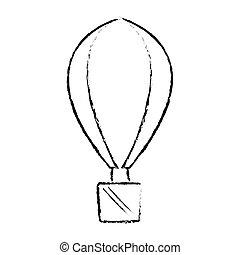 récréation, airballoon, vacances, croquis, voyage