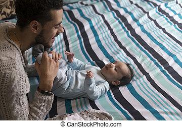 récréation, avoir, père, jeune, fils