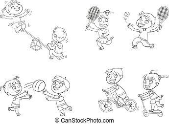 récréation, coloration, gosses, zone., park., endroit, playground., games., livre