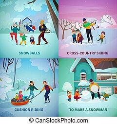récréation, concept, ensemble, hiver, icônes