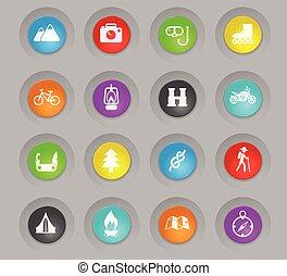 récréation, ensemble, coloré, plastique, boutons, actif, rond, icône