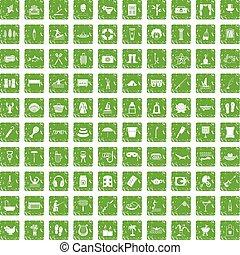 récréation, ensemble, grunge, icônes, vert, 100