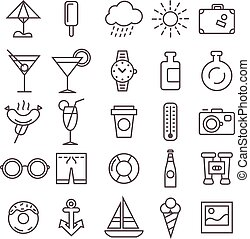 récréation, ensemble, icônes