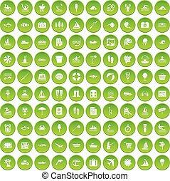 récréation, ensemble, icônes, eau, vert, 100