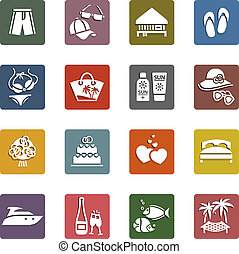 récréation, ensemble, &, vacances, icônes, tourisme