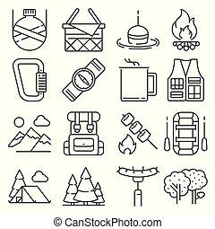 récréation, extérieur, camping, icônes, ensemble, ligne