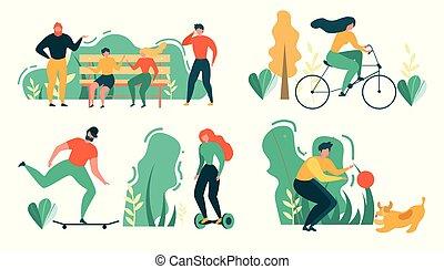 récréation, gens, activité, dehors, sport, dessin animé