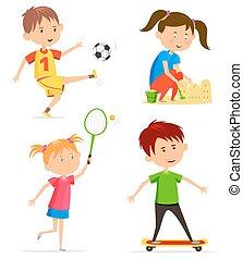 récréation, gosses, enfants, ou, activité
