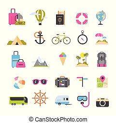 récréation, icônes concept, tourisme, voyage, ensemble, mer, actif, vacances, vacances plage