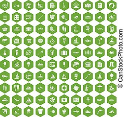 récréation, icônes, eau, vert, 100, hexagone