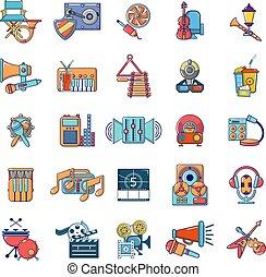 récréation, icônes, ensemble, média, style, dessin animé