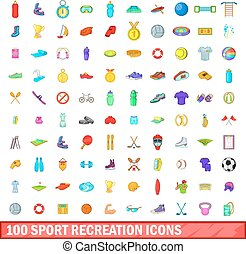 récréation, icônes, ensemble, style, 100, sport, dessin animé